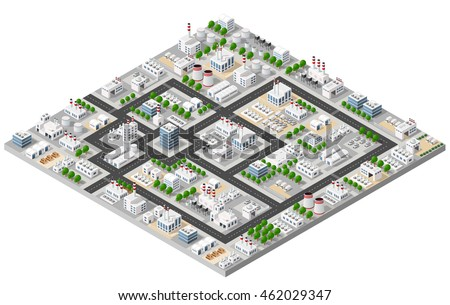 Top view of the construction industry and with 3d isometric factories, mills, boilers and warehouses.