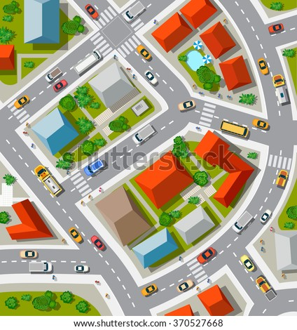 Top view of the  Urban crossroads with cars and houses - stock vector