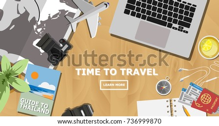 Top view travelers desk laptop planing stock vector 736999870 top view of travelers desk with laptop planing for the next trip to thailand worlds gumiabroncs Image collections