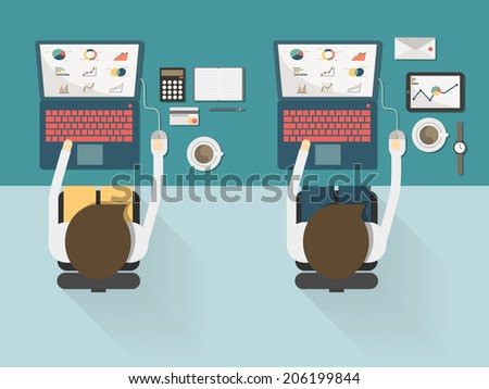 top view of two businessman working on the desk on flat style concept vector - stock vector