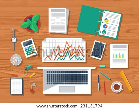 Top view of wood workplace with laptop, calculator, smartphone, stationery and documents with charts and graphs - stock vector
