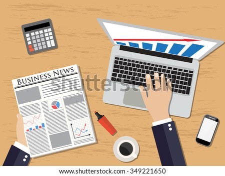 Top view of workplace Businessman holding newspaper near laptop, smartphone,  calculator, coffe, pencil.  vector illustration in flat design  for business concept. - stock vector