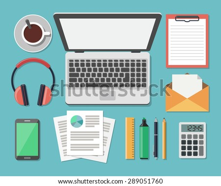 Top View of Workplace, Flat Style Modern Design. Vector Illustration of Business Work Flow Items and Gadgets. Working or studying concept.  - stock vector