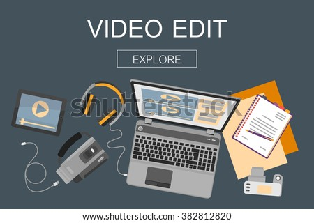 Top view of workplace with devices for video edit, tutorials and post production. Vector illustration.  Flat design mockup banner website for professional movie production, video edition. - stock vector