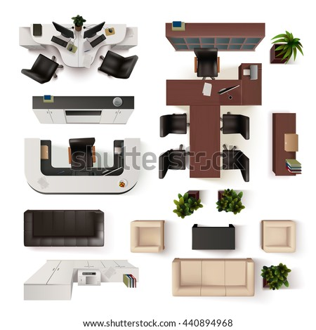 Top View Office Interior Elements  Realistic Vector Illustration - stock vector