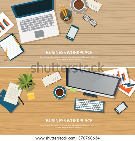 top view office workplace on wood table - stock vector