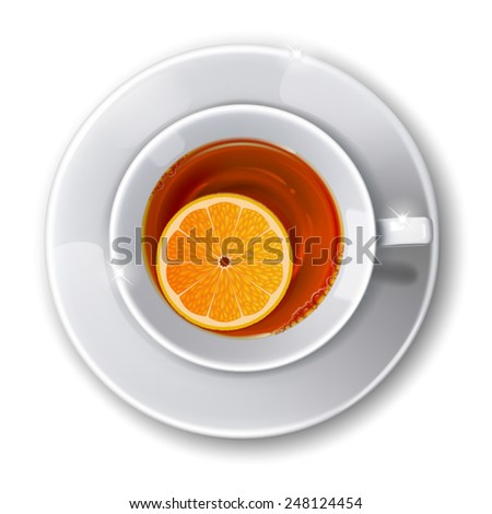 Top view on  cup with  tea on a white background. Mesh. This file contains transparency. - stock vector