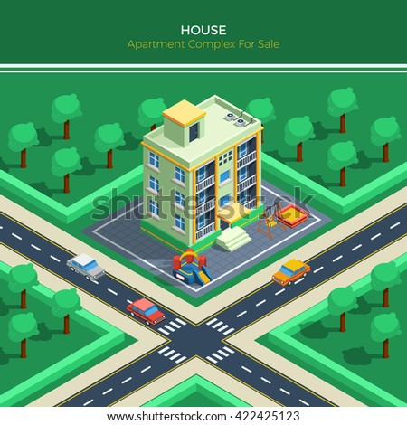 Top view on isometric city landscape with apartment house children playground crossroad and green park around vector illustration