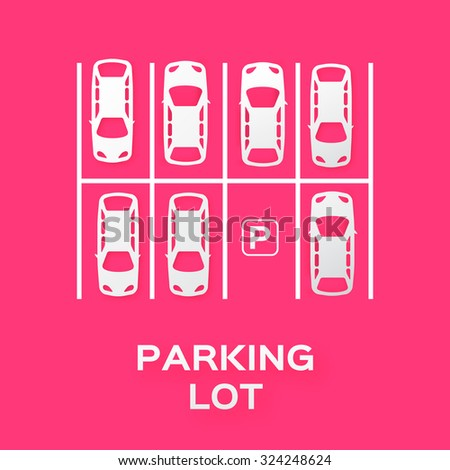 Top View Parking lot design - - cut from paper concept. Many cars parked. Vector illustration - eps10 - stock vector