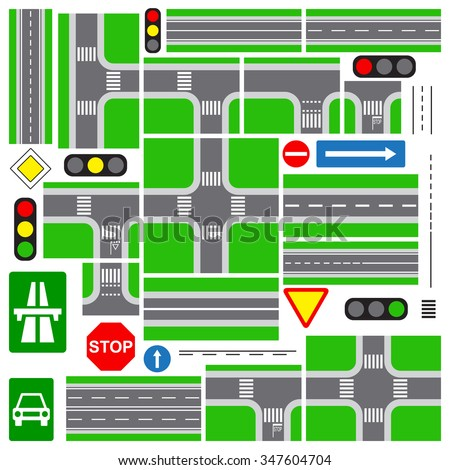 Top view road plan parts, Collection of connectable highway elements, isolated on white background, vector illustration. - stock vector