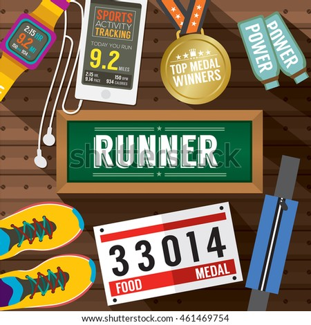 Top View Runner Gears On Wooden Plank Vector Illustration