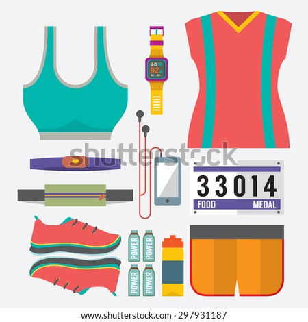 Top View Runner Gears Vector Illustration