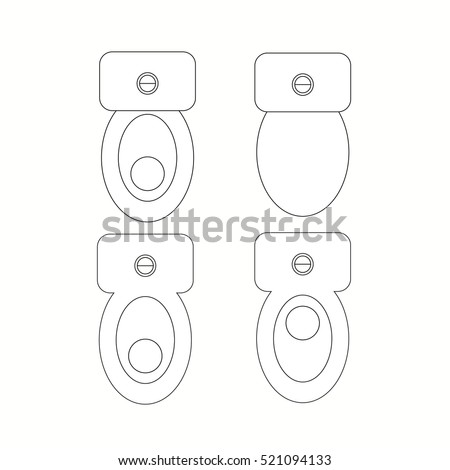 Top View Toilet Furniture Symbols Used Stock Vector ...
