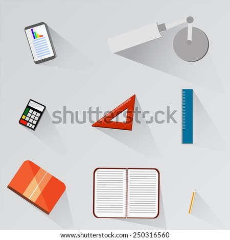 Top view tools,flat design. - stock vector