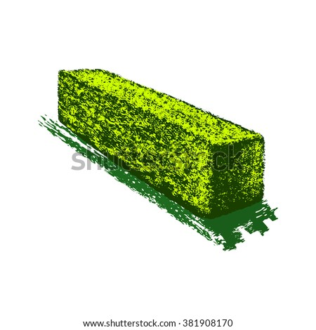 topiary as an element of landscaping design, computer drawing,  vector, silhouette, linear, illustration