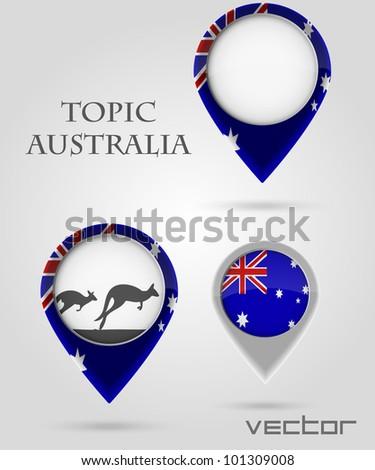 Topic australia Map Marker - stock vector