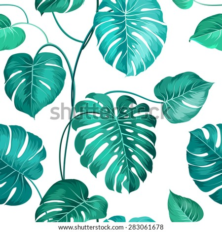 Topical palm leaves over white, seamless pattern. Vector illustration. - stock vector