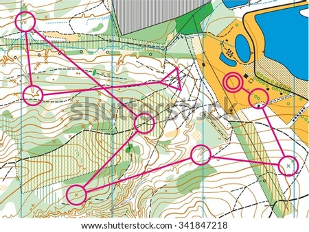 Topographic map for orienteering sport with distance marked on it. - stock vector