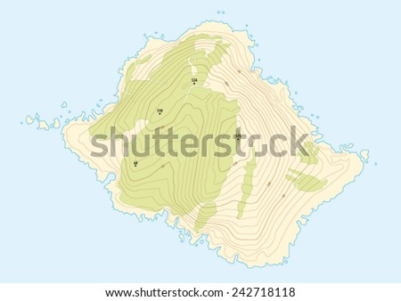 topographic map of a fictional island - stock vector