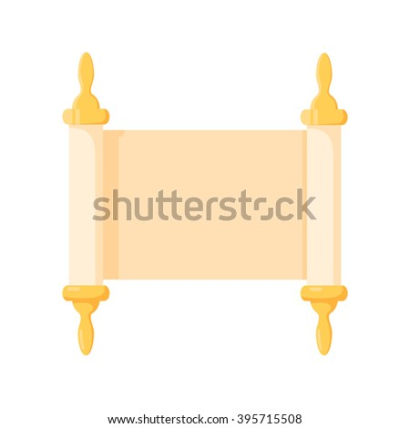 Torah scroll cartoon icon on a white background - stock vector