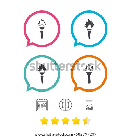 torch flame icons fire flaming symbols stock vector 2018 582797239