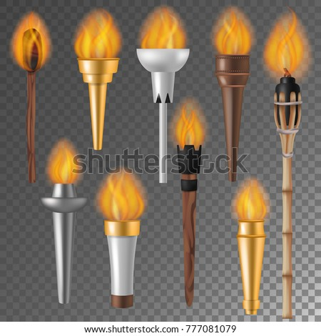 Torch Flame Vector Flaming Torchlight Lighting Stock Vector
