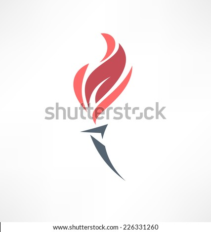 Torch icon. Logo design. - stock vector