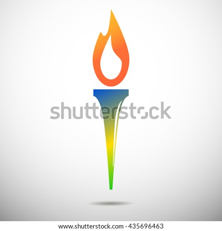 Torch vector icon isolated on white. Olimpic fire. Symbol of Olympic games. Flambeau flat style logo. Cresset sign. Flame illustration. Flaming figure. Colors of Brazil flag. Colorful emblem