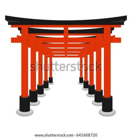 Torii Gate Symbol Shintoism Flat Isolated Vector Stock Vector
