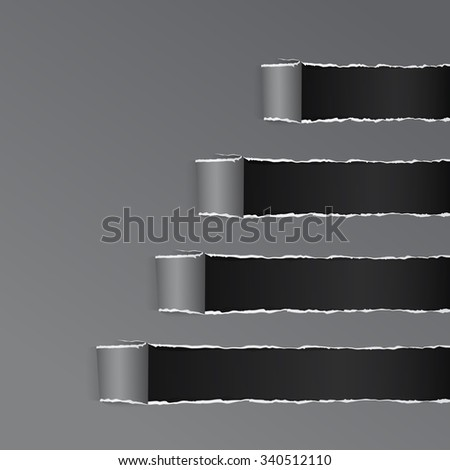 Torn Black Wrapped Curved Paper Gray Copy Space Vector Illustration - stock vector