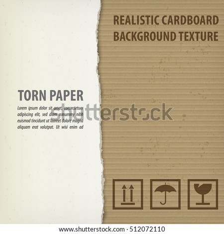 Torn cardboard pieces with space for text. Craft textured. Precentation concept. Vector illustration