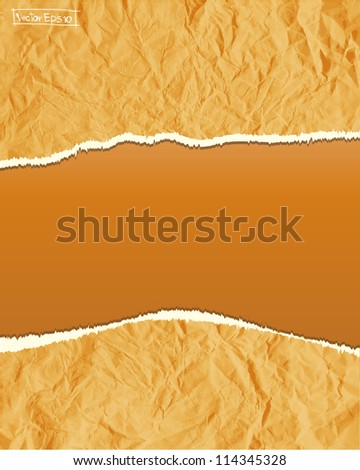 Torn crumpled paper vector - stock vector