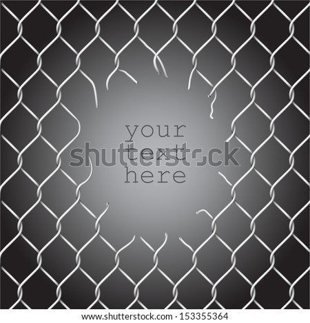Torn fence chain, vector illustration - stock vector
