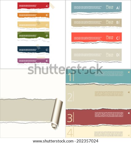 Torn paper background, collection - stock vector