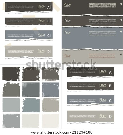 Torn paper background with space for text, collection - stock vector
