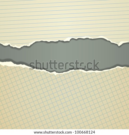 Torn paper borders with soft shadow - stock vector