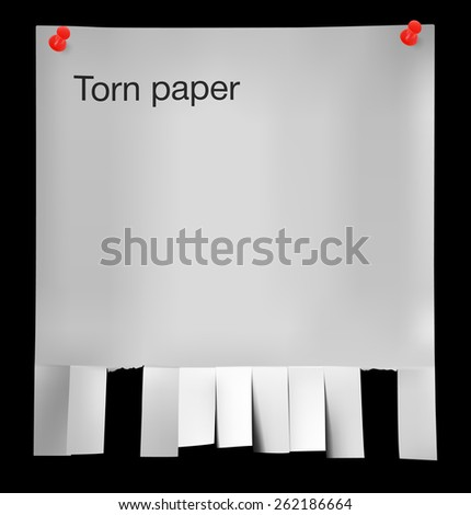 Torn paper for ads on black background. Vector illustration - stock vector