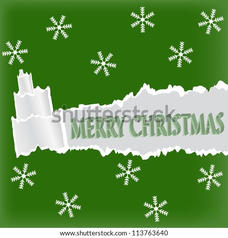 Torn paper in the shape of Christmas tree. Christmas card. - stock vector