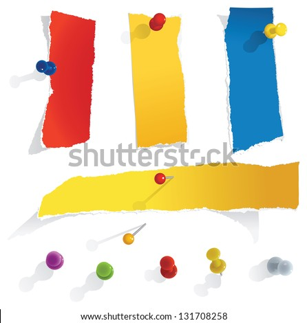 torn paper notes, transparent shadows - stock vector