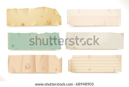 torn paper- objects - stock vector