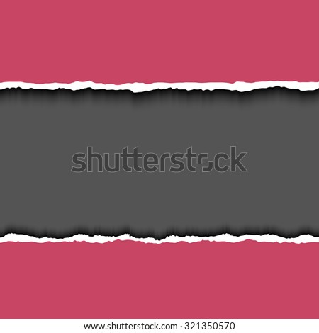Torn paper pieces with dark copy space for text. Vector EPS10 illustration. Design elements - paper with ripped edges - stock vector