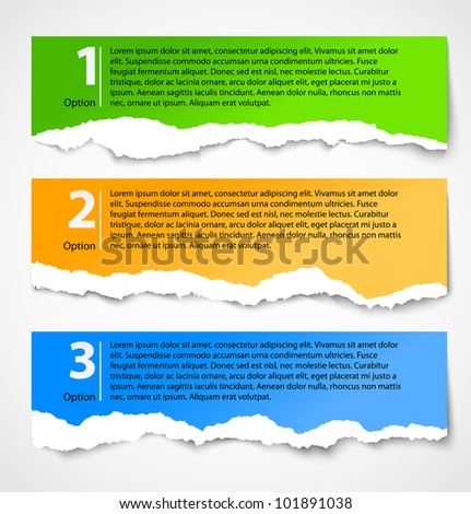 Torn paper progress option background. Numbered banners - stock vector