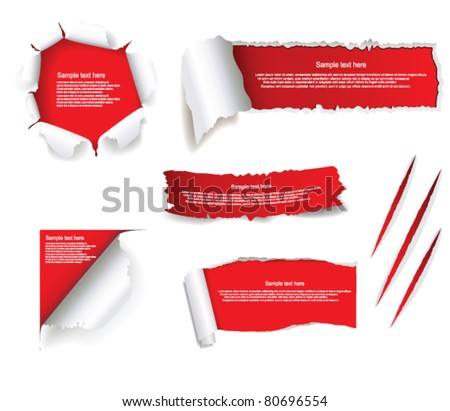 Torn paper set - stock vector