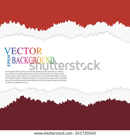 torn paper vector, layered red good for menu - stock vector