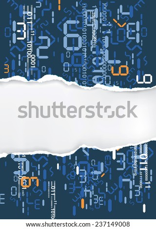 Torn paper with digital numbers Torn paper background digital numbers with place for your text or image.  Vector illustration.  - stock vector