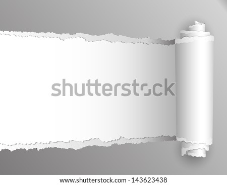 Torn paper with opening showing white background. Vector illustration - stock vector