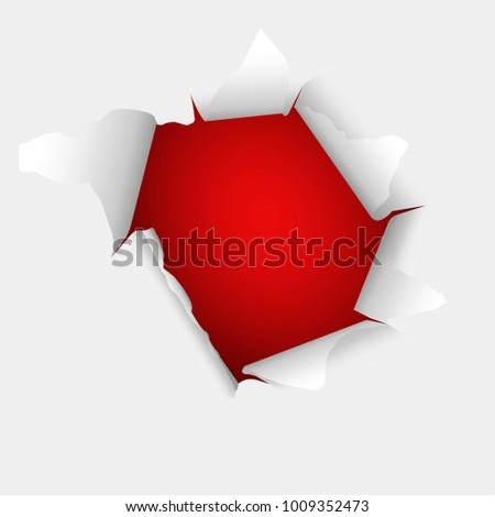Torn paper with redbackground. Template design for you design.