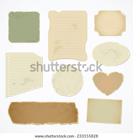 Torn paper with space for text. Vector illustration. Isolated on white background. Top view. Set - stock vector
