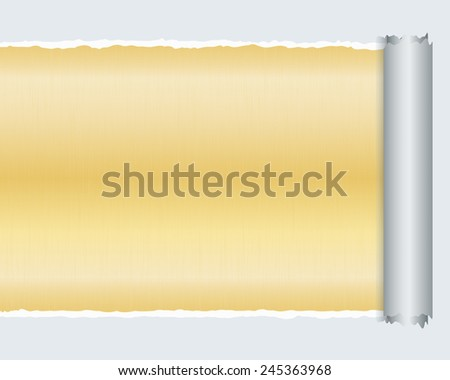 Torn Paper with space for text with gold metallic background,Vector illustrator - stock vector