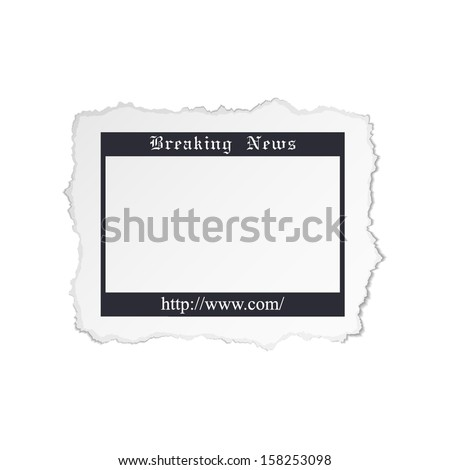 Torn piece of newspaper isolated on white background - stock vector